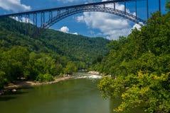 Flisacy przy Nowej rzeki wąwozu mostem w Zachodnia Virginia obraz stock