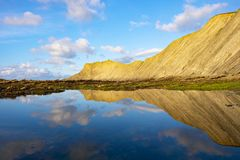 Flisz Baskijski wybrzeże przy zmierzchem, Zumaia Fotografia Stock