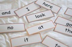 Flitskaarten met eerste woorden royalty-vrije stock foto's