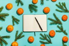 Flitter in einem blauen Glas Weihnachtsrahmen mit Tangerinen, Tanne und geöffnetem Tagebuch auf grüner Tabelle Flache Lage, Drauf Stockfotos