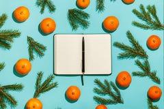 Flitter in einem blauen Glas Weihnachtsrahmen mit Tangerinen, Tanne und geöffnetem Tagebuch auf grüner Tabelle Flache Lage, Drauf Lizenzfreie Stockfotos