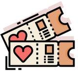 Flitterwochen etikettieren LineColor-Illustration lizenzfreie abbildung