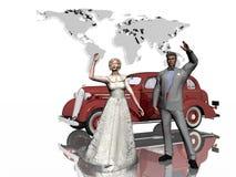 Flitterwochen, gerade geheiratet. lizenzfreie abbildung