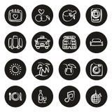 Flitterwochen-Reise-Ikonen freihändig weiß auf Schwarzem vektor abbildung