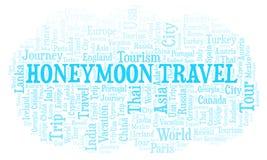 Flitterwochen-Reisewortwolke lizenzfreie abbildung