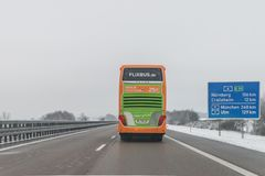 Flixbus and cars on the autobahn, Germany. Germany, Autobahn A6 direction to Nürnberg, December 17, 2017, Flixbus Bus and cars on the autobahn A6 direction to royalty free stock photo