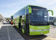 FlixBus. Green bus flixbus parked in the bus station in florence, flixbus is the largest lowcost bus company in europe royalty free stock photography