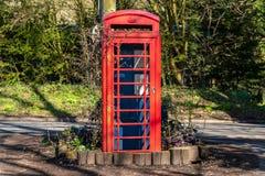在Flixton,萨福克,英国,英国附近的电话亭 库存照片