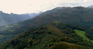 Fliying που αντιμετωπίζει ένα δάσος στο βουνό στο βόρειο τμήμα της Ισπανίας απόθεμα βίντεο