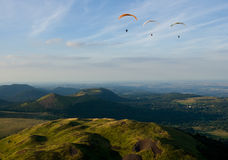 Fliying over the volcanoes in Auvergne Stock Photography