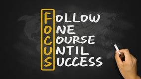 Följ en kurs till framgång som är handskriven på svart tavla Royaltyfria Foton
