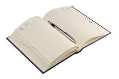Füllfederhalter auf geöffnetem Tagebuch Lizenzfreies Stockfoto