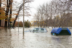 Flloding In Turin, Italy: car under water Royalty Free Stock Photography