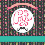 Flloral  card with colorful  flowers.Inscription Love Royalty Free Stock Photo