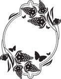 Fllower rama z motyl sylwetkami Obrazy Stock