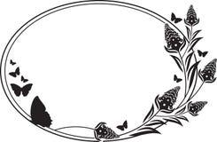 Fllower rama z motyl sylwetkami Fotografia Royalty Free