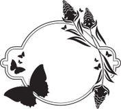 Fllower rama z motyl sylwetkami Obrazy Royalty Free