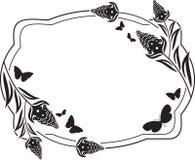 Fllower rama z motyl sylwetkami Zdjęcie Stock