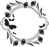 Fllower rama z motyl sylwetkami Zdjęcia Stock