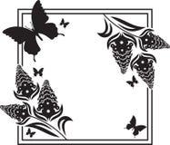Fllower rama z motyl sylwetkami Zdjęcia Royalty Free