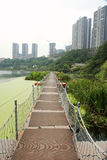 Float bridge with high rise buildings Royalty Free Stock Images