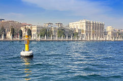 Float and Dolmabahce palace in Istanbul, Turkey stock photography