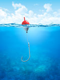Float, Fishing Line And Hook Underwater Royalty Free Stock Image
