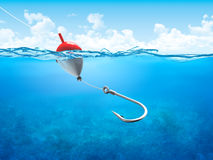 Float, fishing line and hook underwater vertical Royalty Free Stock Photos