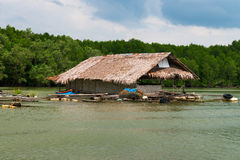 Float fishing village on tropical river Royalty Free Stock Image