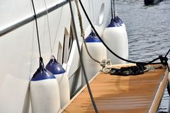 Float hanging on yacht Stock Image