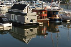 Float Homes, Coal Harbor, Vancouver Stock Photos