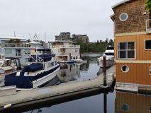 Floathome Village. Float homes Village in Marine Village in Victoria, Canada in a municipality of Esquimalt royalty free stock images