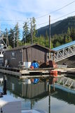 Float House in Alaska Harbor Stock Image