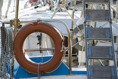 Float and ladder on sailing boat Royalty Free Stock Images