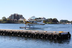 Float Plane. A float plane Adlair Aviation Ltd. de Havilland Beaver (DHC2) Mk I on floats in Victoria Harbour BC Royalty Free Stock Image