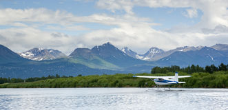 Float Plane Readies for Take Off Lake Hood Alaska Stock Image