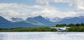Float Plane Readies for Take Off Lake Hood Alaska Stock Image