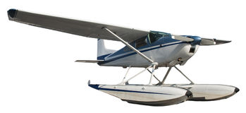 Float Plane, Aircraft, Airplane Isolated on White Stock Photos