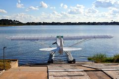 Float Plane at Dock Royalty Free Stock Photography