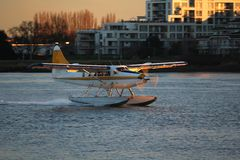 Float Plane River Touchdown Royalty Free Stock Photo