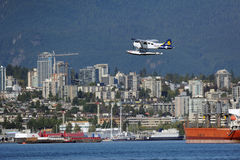 Float Plane taking off in Vancouver, Canada Royalty Free Stock Photo