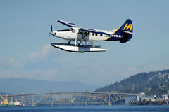 Float Plane taking off in Vancouver, Canada Stock Images