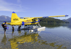 Float plane in the wilderness, Alaska Royalty Free Stock Images