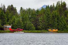 Float Planes on Beluga Lake Homer, Alaska Royalty Free Stock Photos