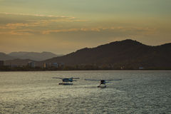 Float Planes in Harbor City of Cairns Background Royalty Free Stock Image