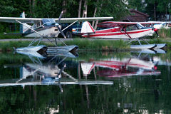 Float planes. Float-planes on the lake stock photography