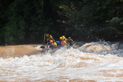 Float raft downstream Stock Image