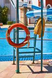 Float safety buoy near the smimming pool. Float safety buoy near the smimming pool Royalty Free Stock Photos