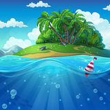 Float in the water at the island background. Undersea world with island. Marine life landscape - the ocean and the underwater world with different inhabitants Stock Image