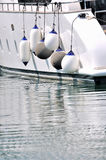 Floater of big white yacht Stock Photography